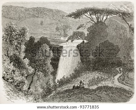 Reb waterfalls old view, Abyssinia. Created by Ciceri after Lejean, published on Le Tour du Monde, Paris, 1867 - stock photo