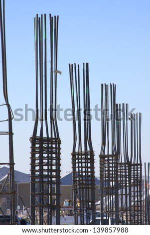 Rebar frames on a building construction site