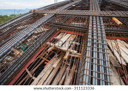 Rebar used for the construction of a building.
