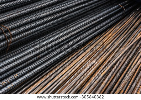 Rebars for concrete reinforcement structure in the construction site. and rusty surface on steel - stock photo