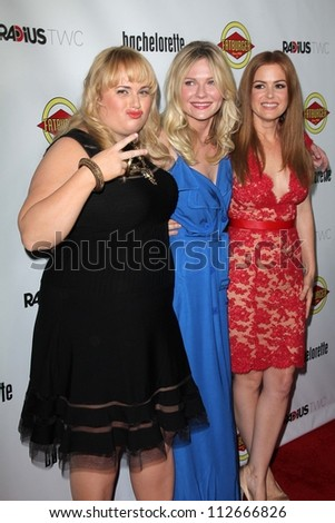 """Rebel Wilson, Kirsten Dunst, Isla Fisher at the """"Bachelorette"""" Los Angeles Premiere, Arclight, Hollywood, CA 08-23-12 - stock photo"""