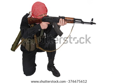 Rebel with AK 47 rifle isolated on white - stock photo