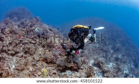 Rebreather Dive on a Deep Reef Wall - stock photo