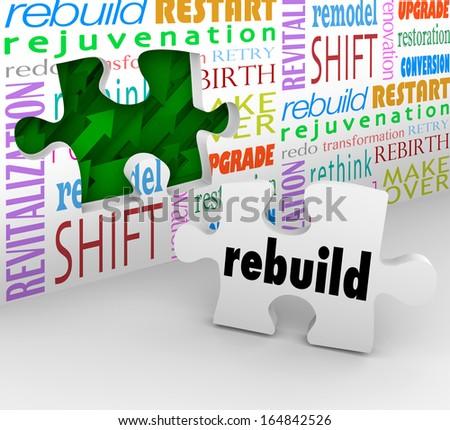 Rebuild Word Puzzle Piece Remodel Restart Over - stock photo