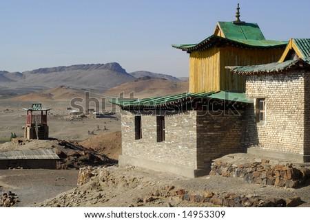 Rebuilt part of Ongi monastery, Mongolia - stock photo