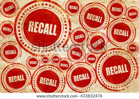 recall, red stamp on a grunge paper texture - stock photo