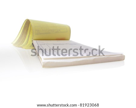 Receipt pad, Isolated and open to a blank page - stock photo