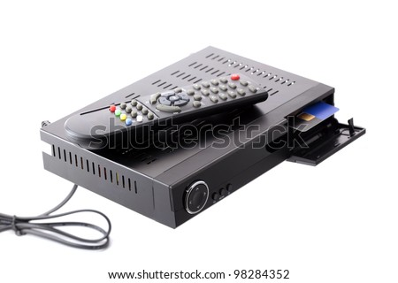 Receiver with CA slot for satellite television - stock photo
