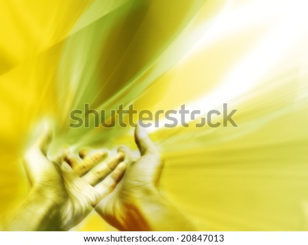 Receiving a blessing or a supernatural help - stock photo