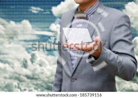 Receiving email from the cloud. - stock photo