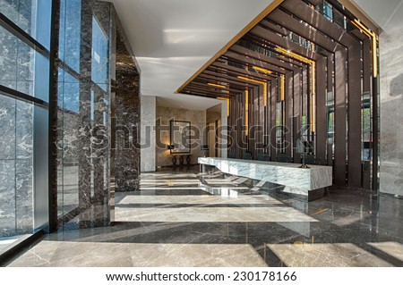 Reception area of a sales office - stock photo