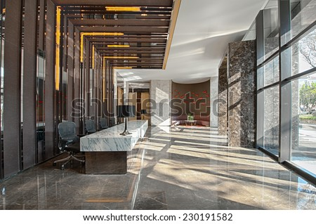 Reception area of a sales office on a sunny day - stock photo