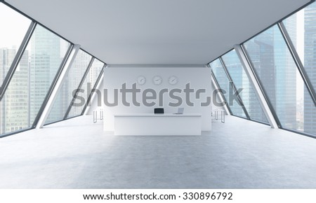 Reception area with clocks and workplaces in a bright modern open space loft office. White tables. Singapore panoramic view in the windows. The concept of luxury consulting services. 3D rendering. - stock photo