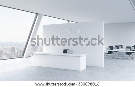 Reception area with clocks and workplaces in a bright modern open space loft office. White tables. New York panoramic view in the windows. The concept of luxury consulting services. 3D rendering. - stock photo