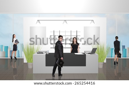 Reception desk in office or hotel with people in it. Illustrated background - stock photo