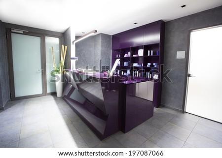 Reception desk in spa center  - stock photo