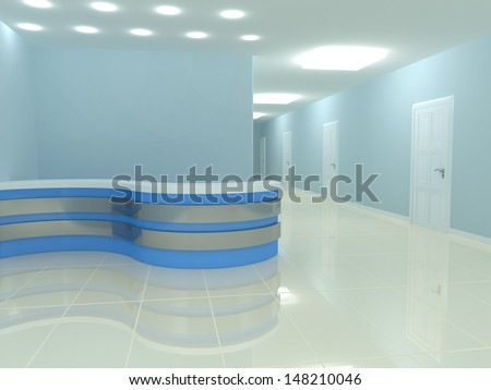 reception desk in the office. 3d rendered image - stock photo