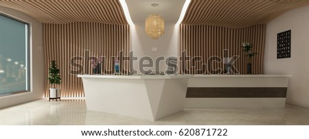 Reception Hotel 3D rendering