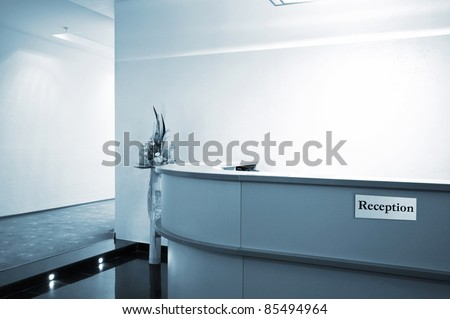 Reception in a hall to new modern hotel - stock photo