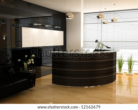 Reception in modern office  3d image - stock photo