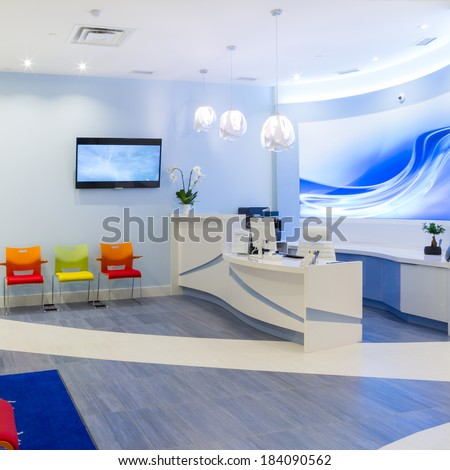 Reception Interior Design at Clinic - stock photo