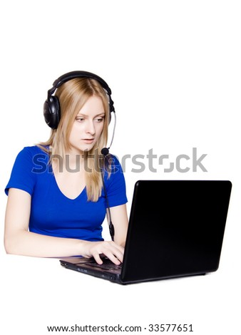 receptionist with headset and laptop