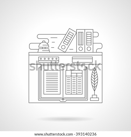 Receptionist workplace. Open guest book and feather-pen, bell and folders. Hotel services. Tourism and travel.  Single detailed flat line icon. Web design elements for business, site, mobile.  - stock photo