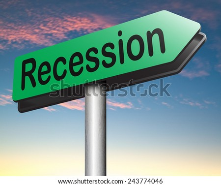 recession and stock market crash crisis bank economic and financial bank recession road sign  - stock photo
