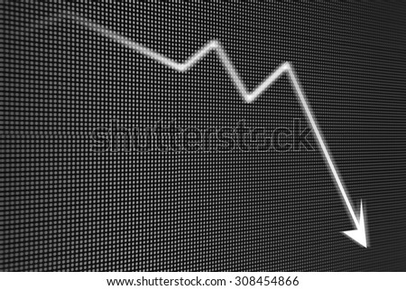 Recession arrow on led screen - stock photo