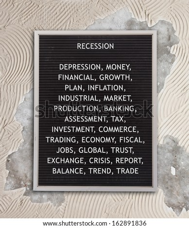 Recession concept in plastic letters on very old menu board, vintage look - stock photo