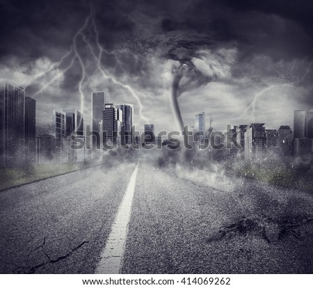 Recession concept with storm in a city - stock photo