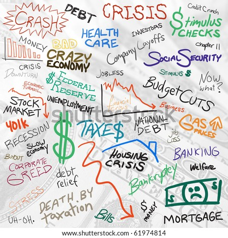 Recession economy and austerity finance related doodles isolated over white.