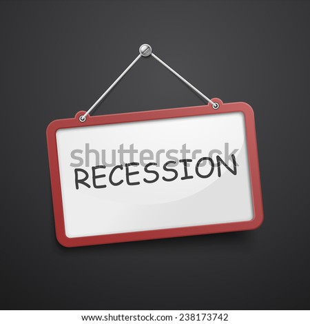 recession hanging sign isolated on black wall  - stock photo