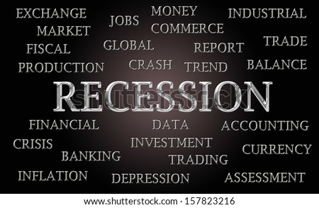 Recession word cloud written in luxurious chrome lettets - stock photo