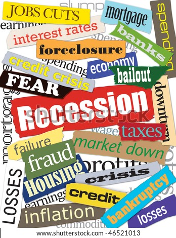 Recession Word Collage Graphic - stock photo