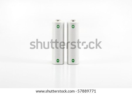 rechargeable aa batteries on white - stock photo