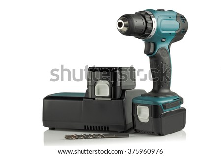 Rechargeable and cordless drill on a white background. - stock photo