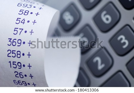 reciept and calculator - stock photo