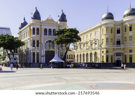 RECIFE, BRAZIL - CIRCA JAN 2014: Marco Zero Square in Recife, Pernambuco, Brazil. It is a historic place where the city started and the local Carnival Festival takes place every year. - stock photo