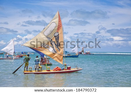 RECIFE, BRAZIL - CIRCA OCT 2013 - Jangadas in Porto de Galinhas. The most famous beach of Pernambuco, Brazil - stock photo