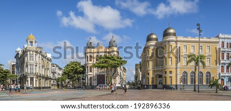 RECIFE, BRAZIL - MARCH 15: Marco Zero Square in Recife, Pernambuco, Brazil is a historic place where the city started and the local Carnival Festival takes place every year as seen on March 15, 2014. - stock photo