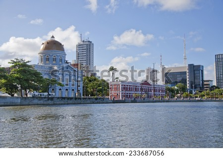 RECIFE, PERNAMBUCO/ BRASIL 11 MAY 2013  View of the Capibaribe River and Aurora street in Recife, one of the city's most famous streets - stock photo