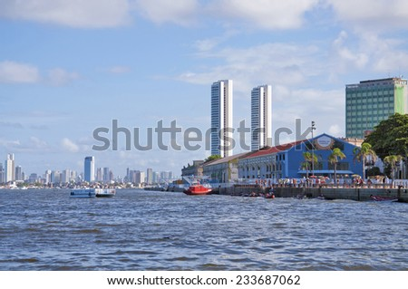 RECIFE, PERNAMBUCO/ BRASIL 11 MAY 2013  View of the Capibaribe River in Recife, cultural center in northeastern Brazil - stock photo