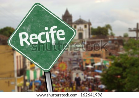 Recife Sign on Downtown, Brazil - stock photo