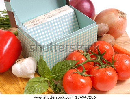 Recipe box and the ingredients for fresh spaghetti and sauce - stock photo