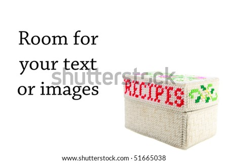 Recipe file isolated on white with room for your text or images - stock photo