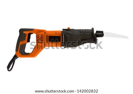 Reciprocating saw isolated on a white background. - stock photo