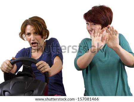 reckless driver and scared female passenger on white background  - stock photo