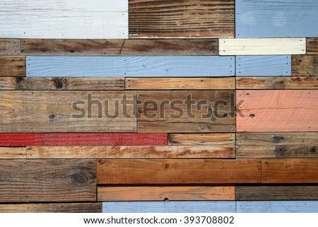 reclaimed wood panel - stock photo