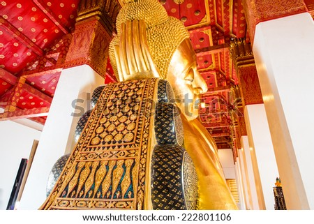 Reclining Buddha at Pamok Temple, Thailand. - stock photo